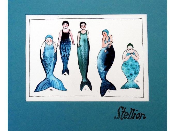 Sešit Stellion, A5, Anna Mastníková, detail kresby Mořské panny