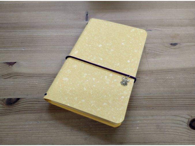 Obláčkově žlutý kreativní deník z ručního papíru