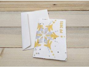 Rostoucí vánoční přání - ruční papír, bavlna a len