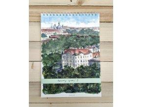 Upcycle blok kalendář Prahy - Nuselské údolí