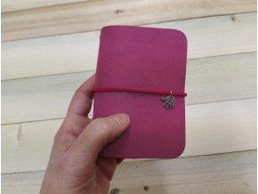 """Kreativní kožení deník """"MiMi"""" - barva růžová"""
