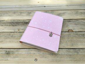 Kreativní deník ruční papír, barevný vzor obláčková růžová
