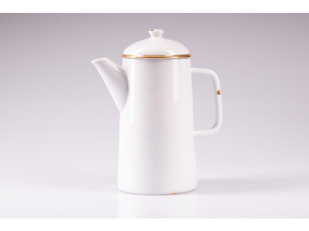 originální konvice, retro konvice, retro konev, konvice na čaj, bílá porcelánová konvice, porcelánová konvice na čaj, porcelánová konev, designová konev na čaj, konvice na čaj, konvice, konev,designová konev, konev na čaj, porcelánová konvice, čajová konvice, porcelán, český porcelán, luckavo, Lucie Tomis, retro nádobí, plecháček, smaltovaný design, zlatá konvice