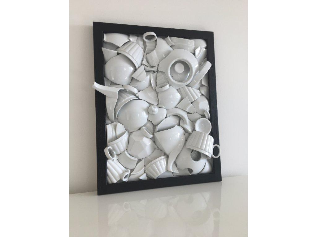 porcelánový obraz, střepy štěstí, Lucie Tomis, svatební dar, originální obraz, střepy, designový obraz, originál, luckavo