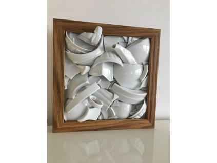 porcelánový obraz, střepy štěstí, Lucie Tomis, svatební dar, originální obraz, střepy, designový obraz, originál, Luckavo.cz