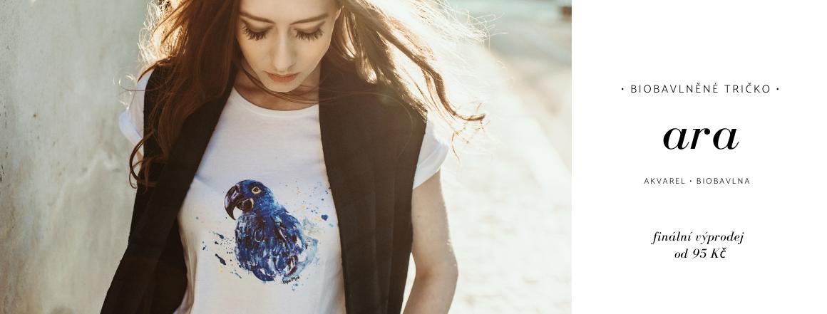 Exotická ara na biobavlněném tričku za doprodejovou cenu! | Malebnosti