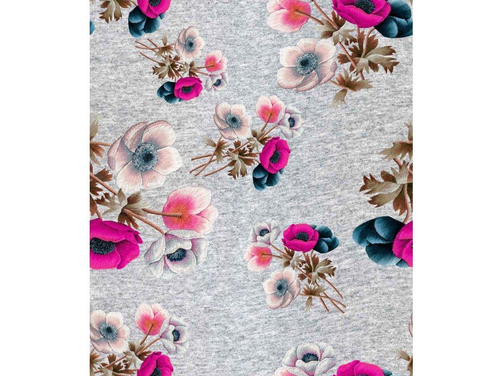 kwiaty haftowane na melanzu bez tla