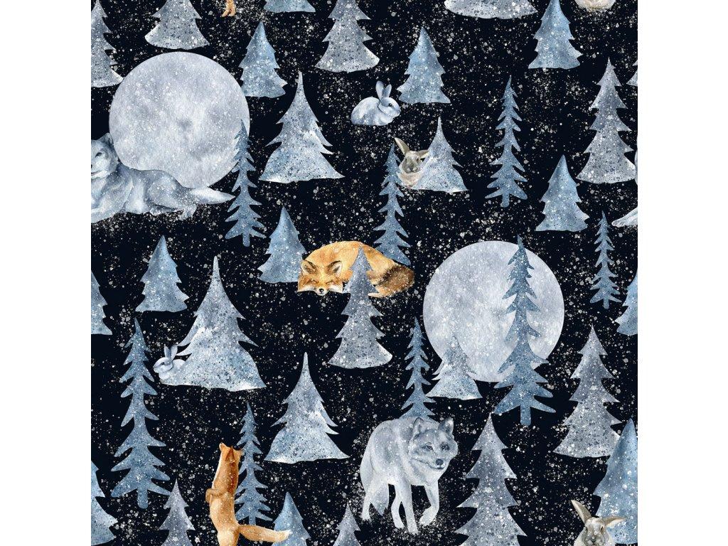 Y104 zvířátka v lese načerném pdkladu
