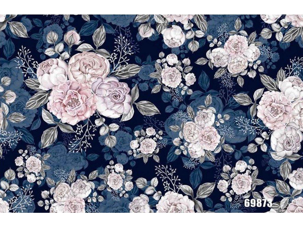 Y124 květy na modrém podkladu