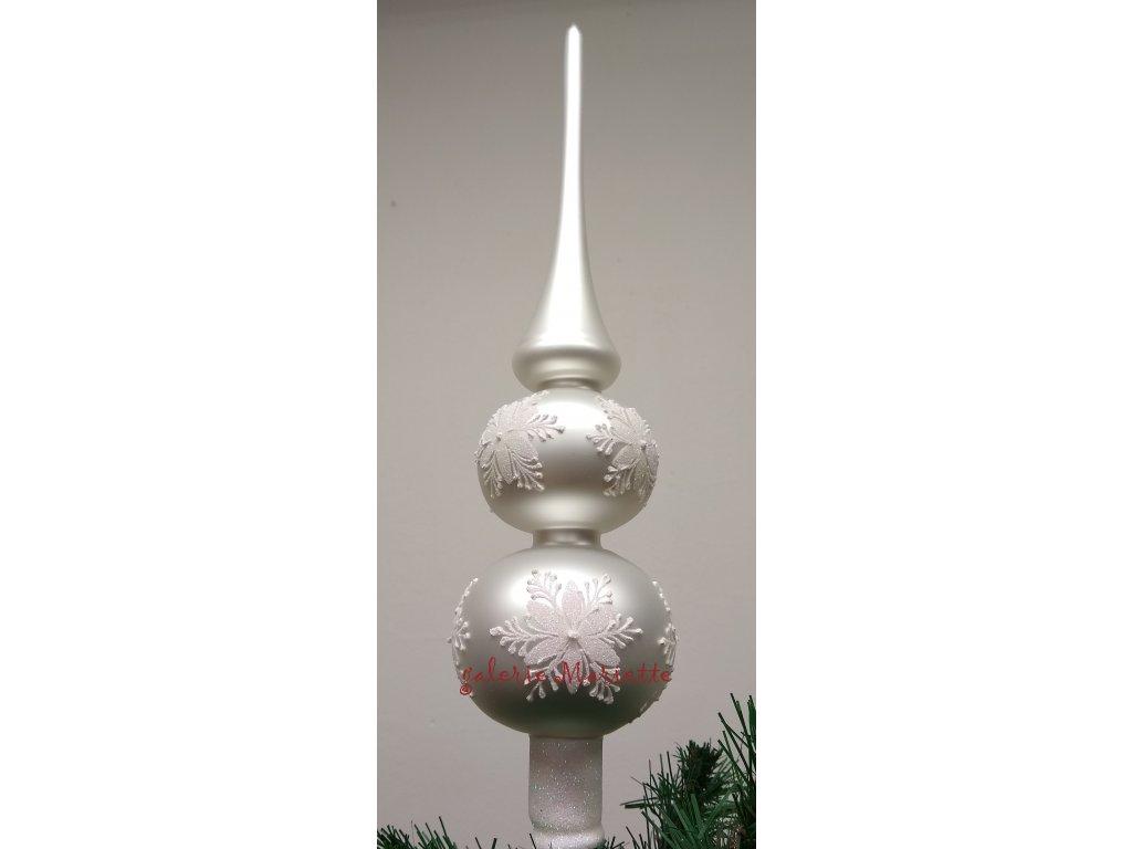 Bílá vánoční růže - špice 2k