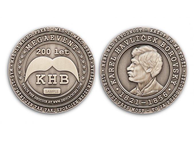 KHB200 Geocoin Antique Silver
