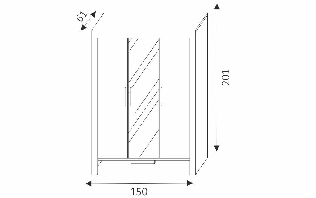 Šatní skříň - CEZAR 1 rozměry