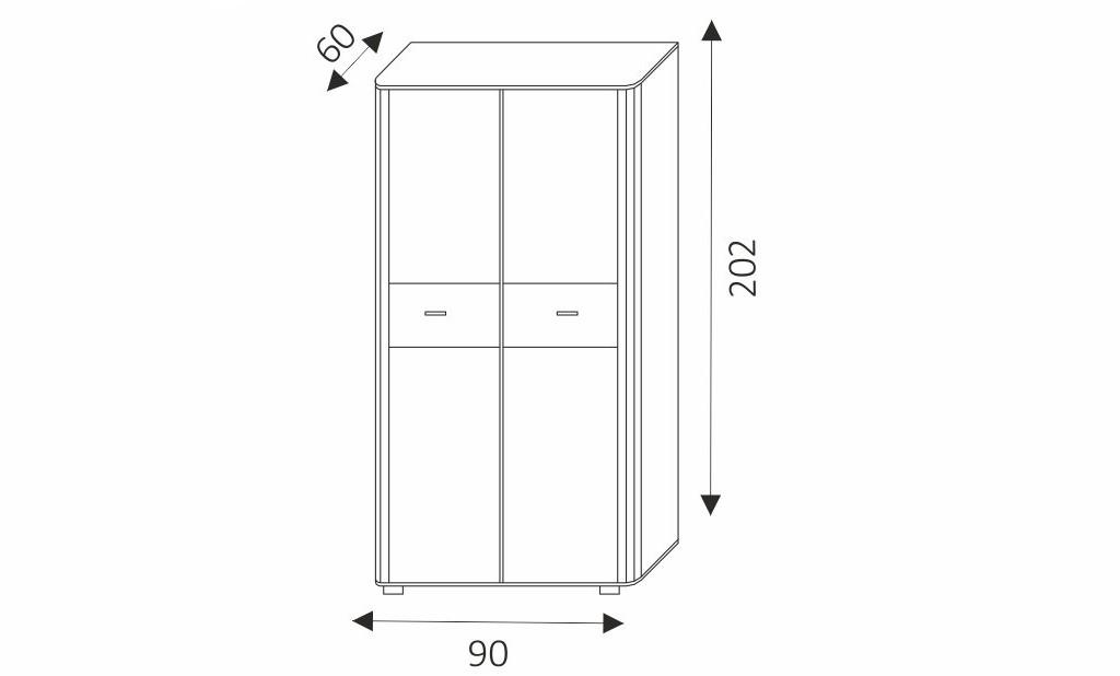 Šatní skříň - FILL 1 rozměry