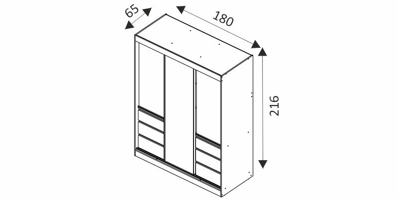 Šatní skříň - HAITI 180 rozměry