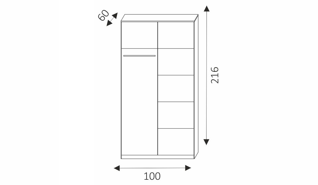 Šatní skříň - KARO 100 rozměry