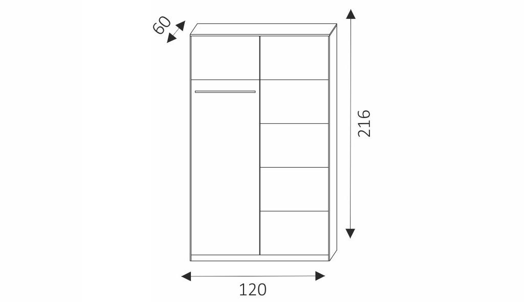 Šatní skříň - KARO 120 rozměry