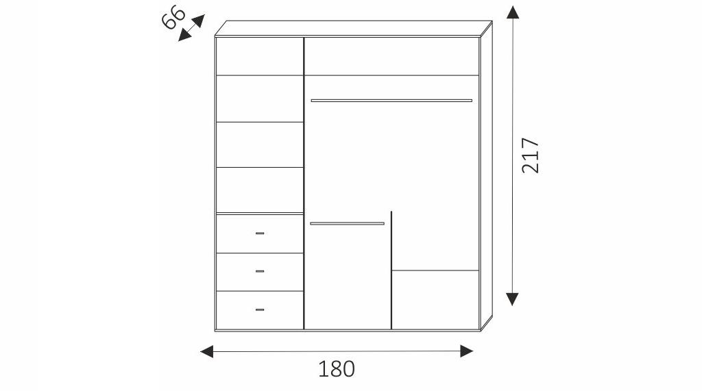 Šatní skříň - LEO 180 rozměry