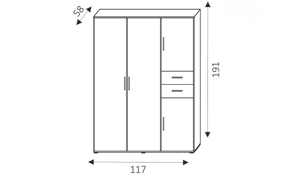 Šatní skříň - NEMO 1 rozměry