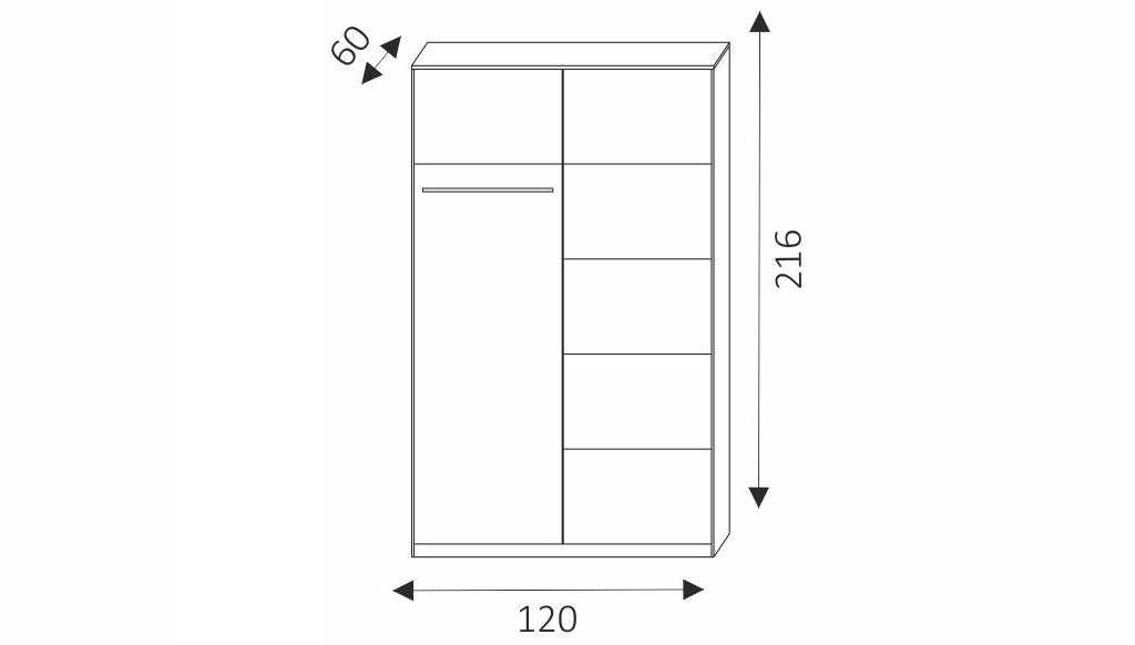 Šatní skříň - NERO 120 rozměry