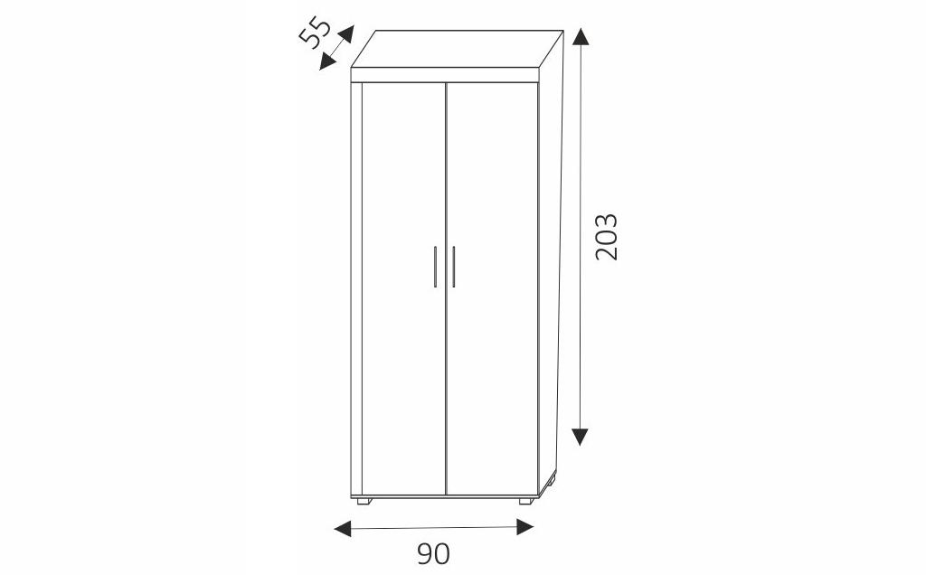 Šatní skříň - SAMBA 1 rozměry