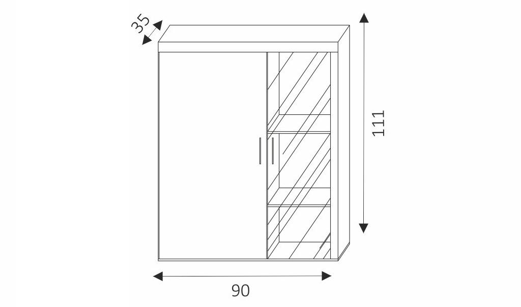 Závěsná vitrína - SAMBA 4 rozměry