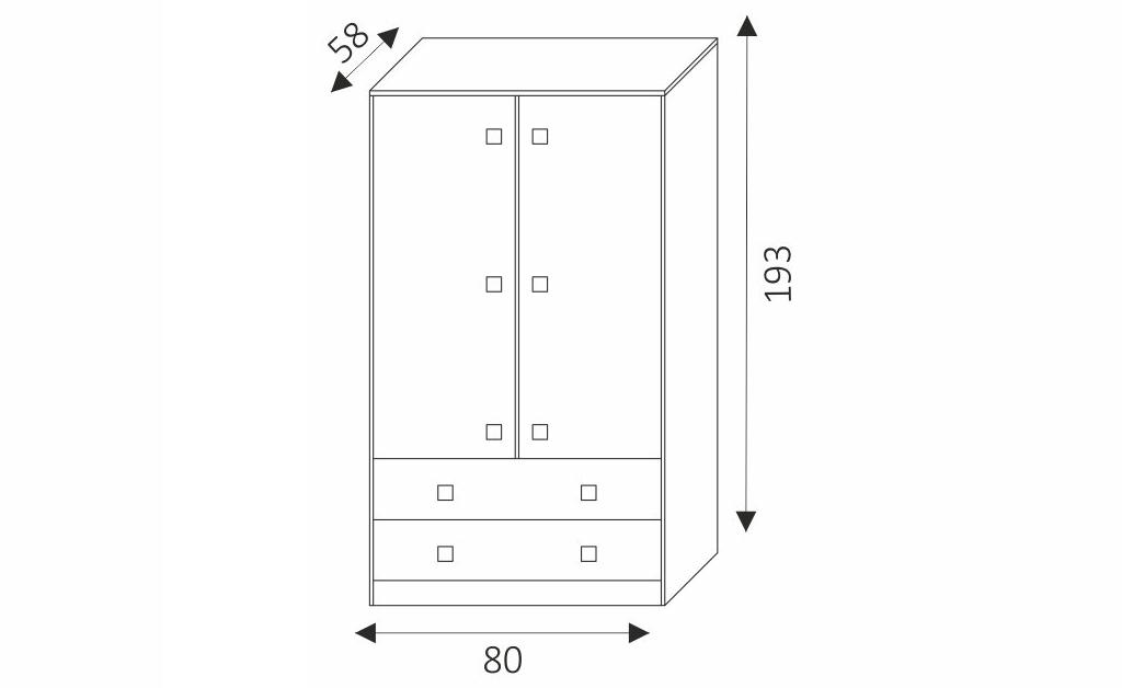 Šatní skříň - TOMMY 2 rozměry