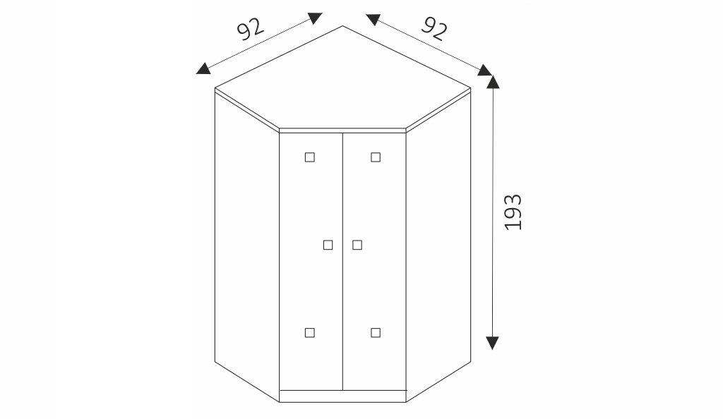 Rohová šatní skříň - TOMMY 4 rozměry