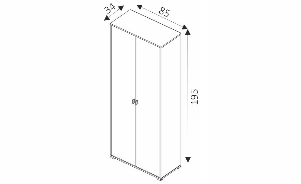Šatní skříň - ANTER 05 rozměry