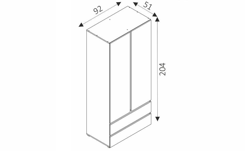Šatní skříň - COSMO C02 rozměry