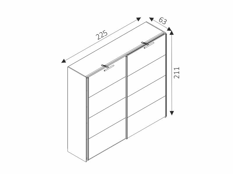 Šatní skříň - DIONE D01/8 - rozměry