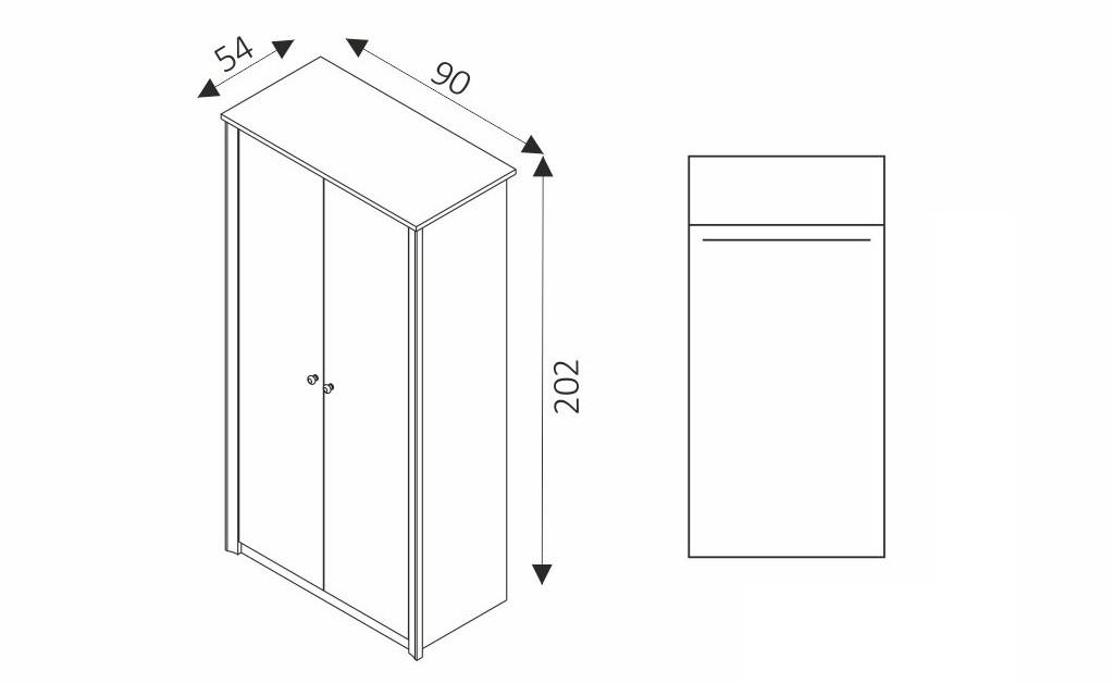 Šatní skříň - FINEZJA F2 rozměry