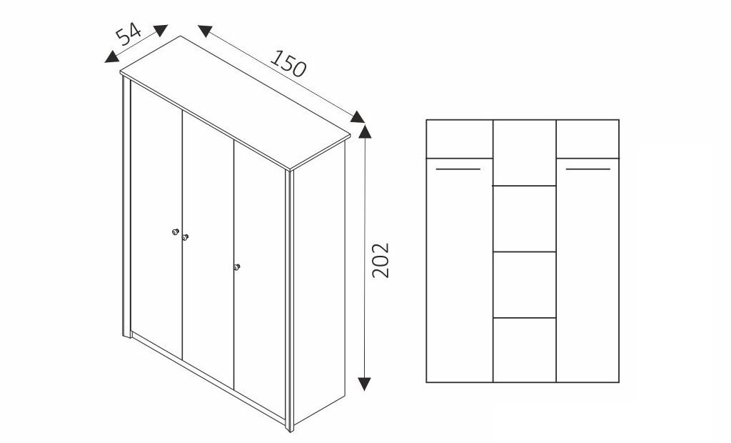 Šatní skříň - FINEZJA F3 rozměry