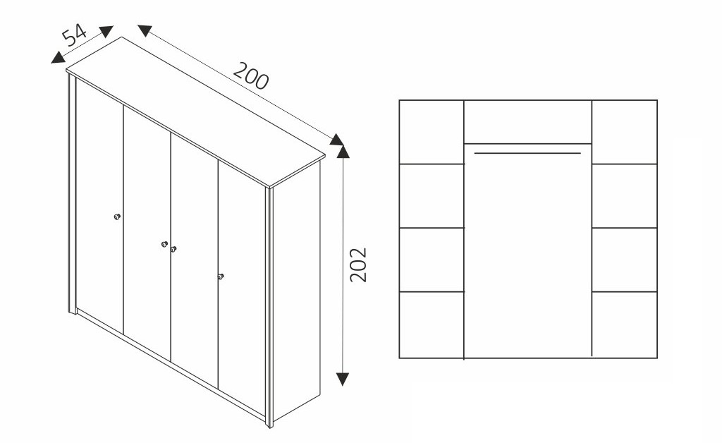 Šatní skříň - FINEZJA F4 rozměry