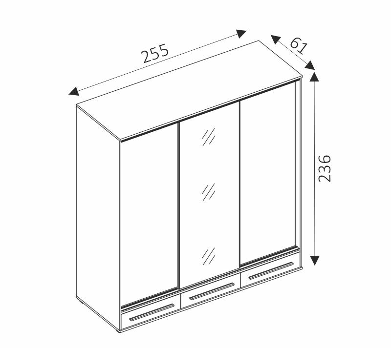 Šatní skříň - HAIFA rozměry