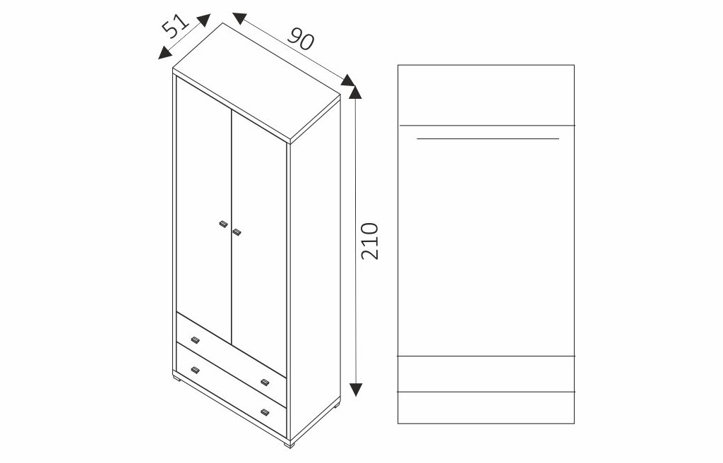 Šatní skříň - KENDO K12 rozměry