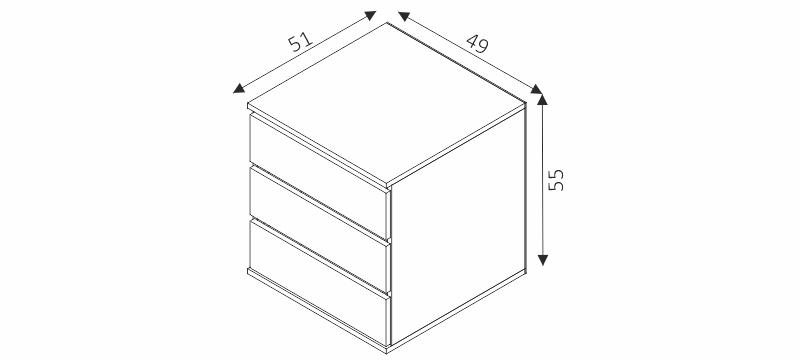 Kontejner do šatní skříně - MK55 rozměry