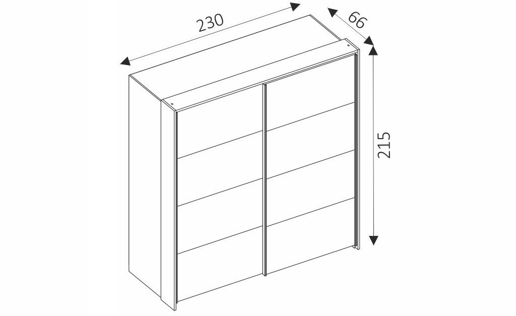 Šatní skříň - LATIKA 230 rozměry