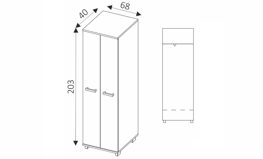 Šatní skříň - MAXIMUS M15 rozměry