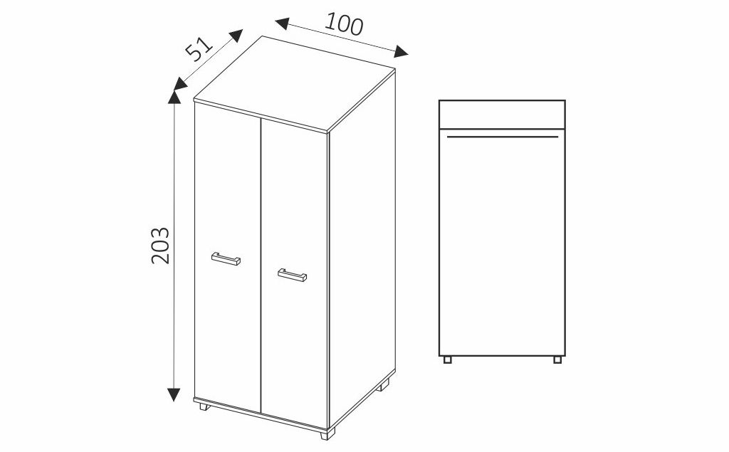 Šatní skříň - MAXIMUS M2 rozměry