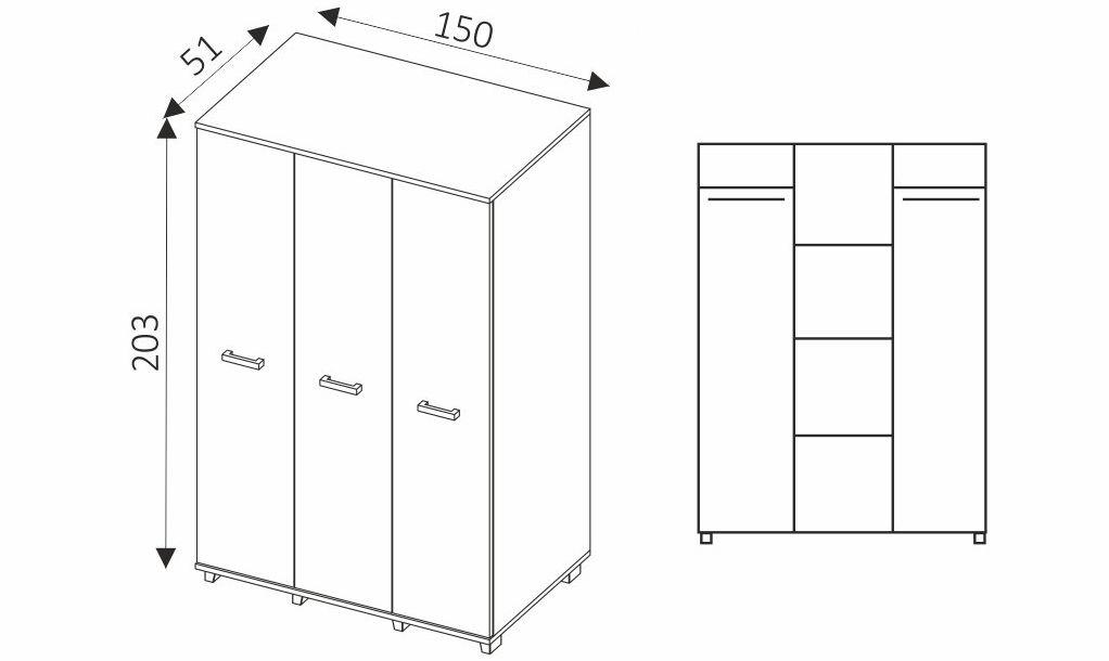 Šatní skříň - MAXIMUS M3 rozměry