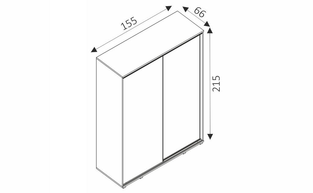Šatní skříň - PENELOPE 155 rozměry
