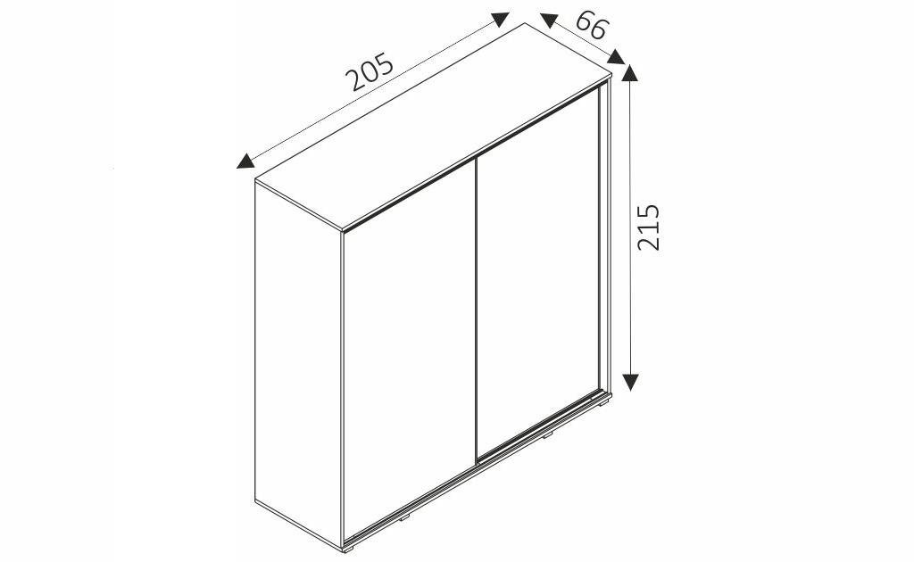 Šatní skříň - PENELOPE 205 rozměry