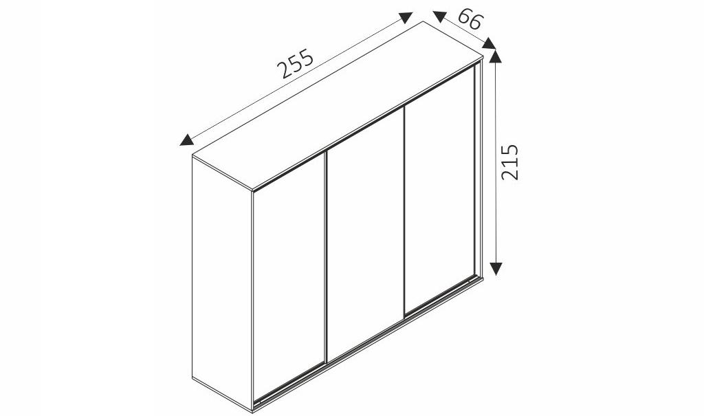 Šatní skříň - PENELOPE 255 rozměry