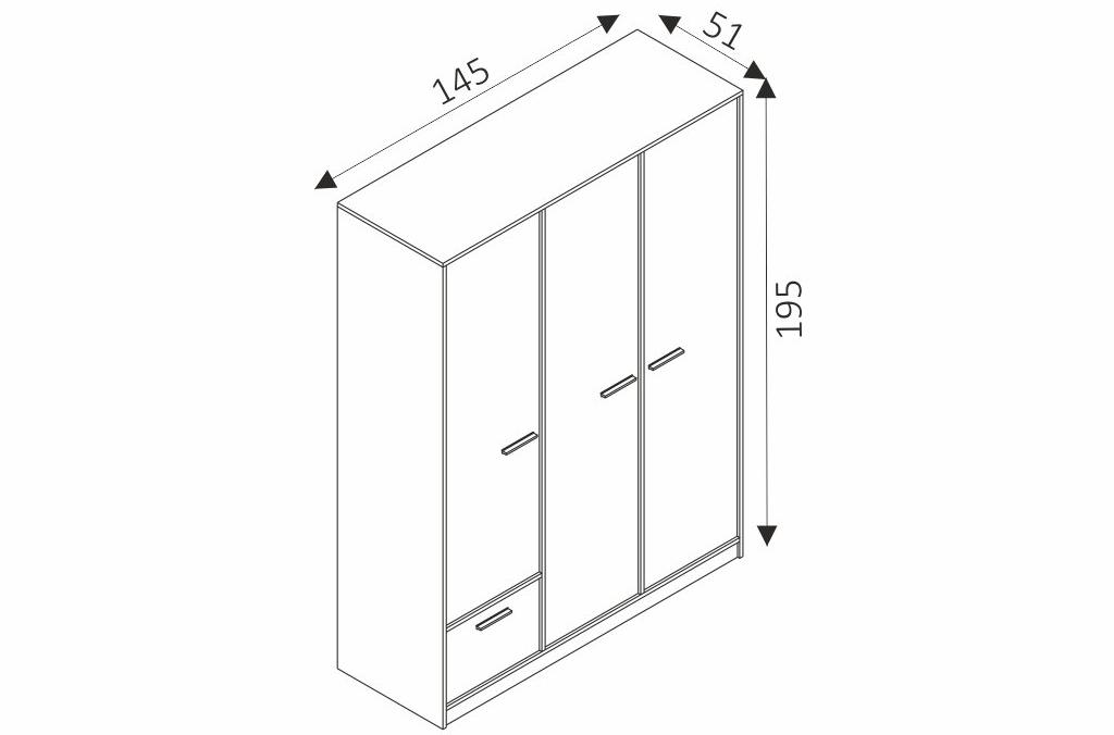 Šatní skříň - REST R03 rozměry