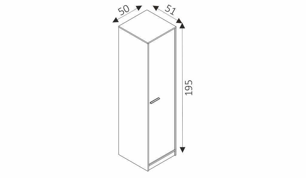 Šatní skříň - REST R01 rozměry