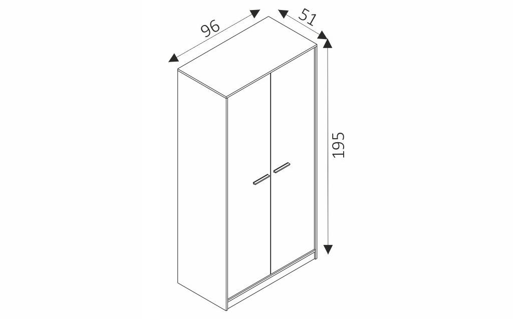 Šatní skříň - REST R02 rozměry