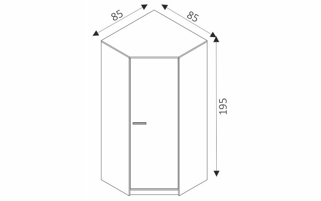 Rohová šatní skříň - REST R14 rozměry