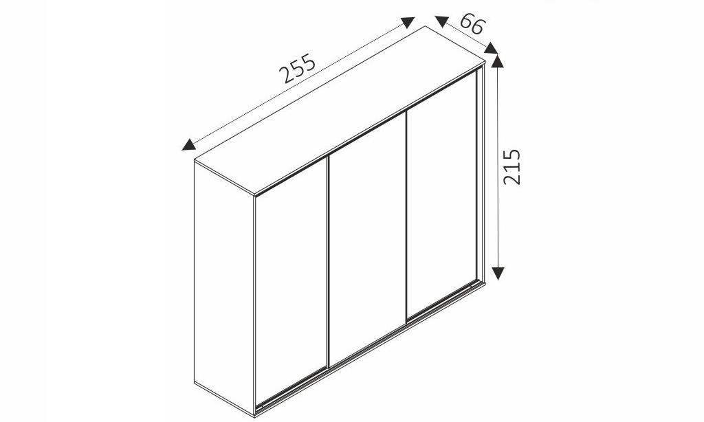 Šatní skříň - SILVER 255 rozměry