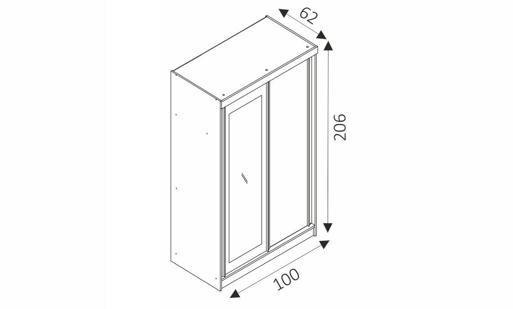 Šatní skříň - ALASKA 100 rozměry