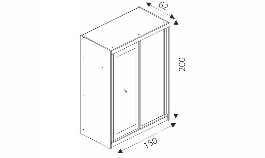 Šatní skříň - ALASKA 150 rozměry